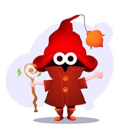 A little wizard in huge magic hat with a magician staff. Cartoon character. Vector illustration. Illustration