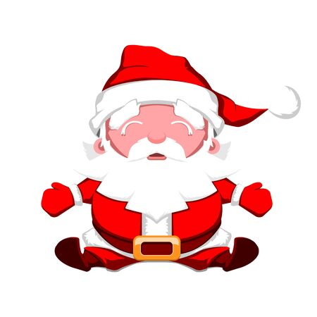 Happy Santa Claus with open arms sitting on a white background. Christmas vector illustration.