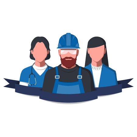 Working people isolated on white. Labor Day flat vector illustration.