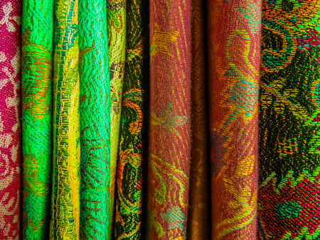 Many silk patterns embroidered on varied pieces Stock Photo