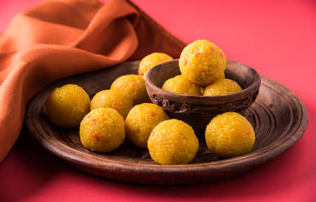 indian sweets bundi laddu or motichur laddu or motichoor laddu, selective focus Standard-Bild