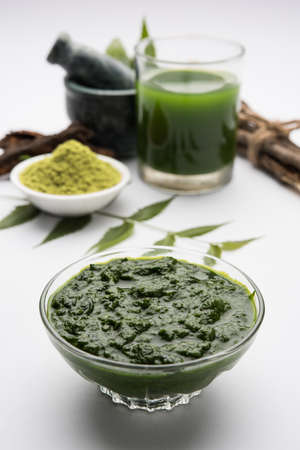 Medicinal Ayurvedic Azadirachta indica or Neem leaves in mortar and pestle with neem paste, juice and twigs, selective focus