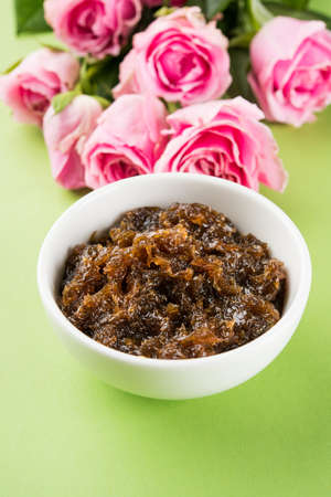 Gulkand, also known as Gulqand, is a sweet preserve of rose petals popular in India, usually used in chewing paan masala