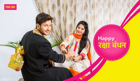Indian Festival - Rakshabandhan or Raksha Bandhan Or Rakhi Festival also known as Narali Purnima and people, young sister tying traditional Rakhi Thread on brother's wrist or taking selfie picture or holding gifts Banque d'images