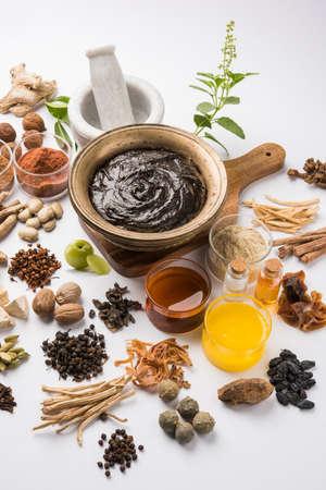 Indian Ayurvedic dietary supplement called Chyawanprash  chyavanaprasha is a cooked mixture of sugar, honey, ghee, Indian Gooseberry (amla), jam, sesame oil, berries, herbs and various spices