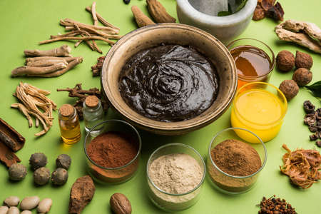 Flat lay of a bowl of Chyawanprash and all its ingredients on a green background.