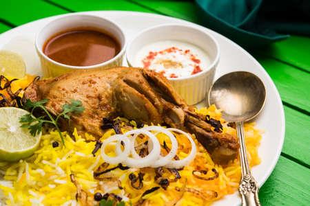 하이데라바디 비르 야니 (Hyderabadi Biryani)는 유명한 하이데라바드 요리 (Hyderabad Cuisine)에서 가장 잘 알려진 비 채식 요리입니다. Basmati 쌀, 스톡 콘텐츠