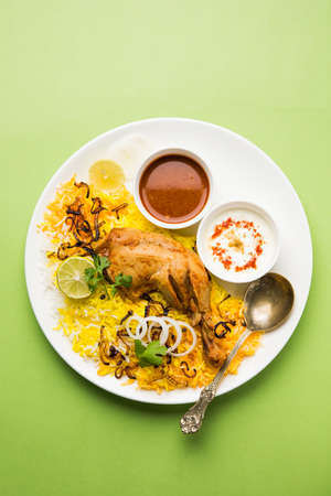 well made: Hyderabadi Biryani is most well-known Non-Vegetarian culinary delights from the famous Hyderabad Cuisine. A traditional Indian dish made using Basmati rice, chicken meat & various other exotic spices.