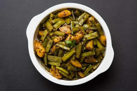 spice: fried cluster bean curry or gawar or gowar ki sabji, selective focus