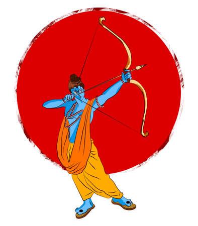 antique Stock Illustration of happy Dussehra greeting card, happy vijayadashmi or Navaratri, Important Hindu festival in India showing illustration of Lord Ram or Rama and Ravana