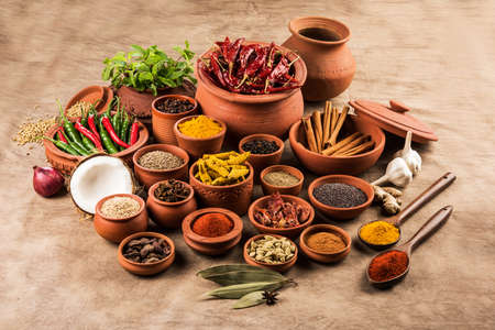 indian spices in terracotta pots, indian colourful spices, group of indian spices, group of spices, india and spices arranged in different size terracotta pots Stock Photo