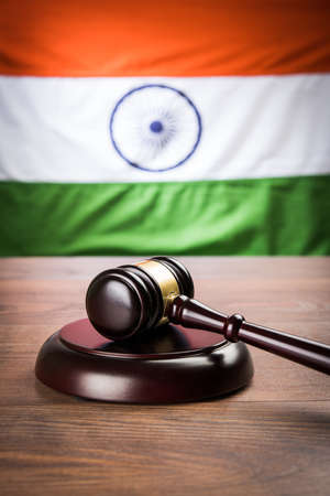 rupees: stock photo showing Indian low and jurisdiction - Indian national flag or tricolour with wooden gavel showing concept of law in India