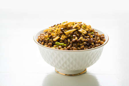 stock photo of Dalmot or Dalmoth Namkeen or Masoor Dal Namkeen orDry Snacks or chivda or chiwada Famous North Indian Snack