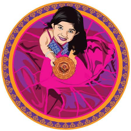 Stock Illustratie, Indisch, Klein, Meisje, Diya, diwali, festival, het kijken, Aziatisch, meisje, diya, bovenaanzicht of Vogels, oog, aanzicht