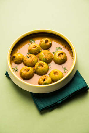 Dhensa chi bhaji in Marathi language popularly known as  Tinda masala in India or curry vegetable of Indian squash, selective focus
