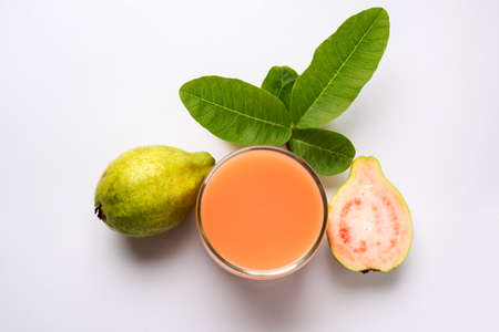 Guava  juice or Amrud drink or Smoothie with fresh Guava fruit, moody lighting selective focus