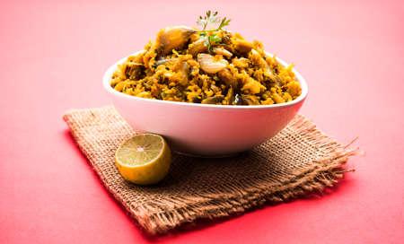 Zunka Bhakar Pithla or pitla, popular vegetarian recipe from India