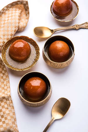 Gulab jamun /gulaab jamun is a milk-solid-based Indian sweet made in festival or wedding party Stock Photo
