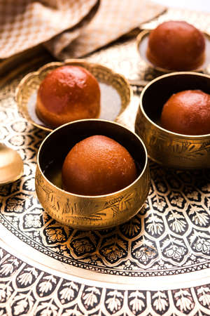 Gulab jamun gulaab jamun is a milk-solid-based Indian sweet made in festival or wedding party Stock Photo