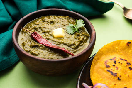 Sarson Ka Saag Makki Ki Roti popular north indian main course menu usually prepared in winter season Stock Photo