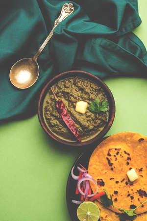 Sarson Ka Saag Makki Ki Roti popular north indian main course menu usually prepared in winter season Stock Photo