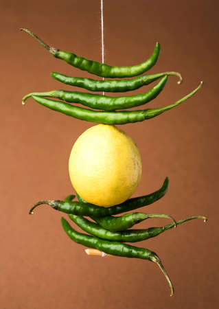 lemon chilies hanging - Indian superstitious lemon and green chillies tied with thread and tied on doors at home or shop to avoid any bad fortune also known as totka or nazar battu 版權商用圖片