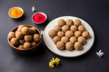 Tilgul or Til Gul with haldi Kumkum for makar sankranti festival Stock Photo