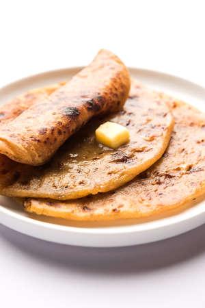 Puran Poli / Puranpoli / Holige / Obbattu - Indian sweet flatbread, selective focus