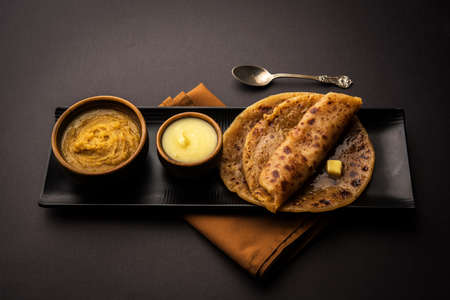 Puran Poli  Puranpoli  Holige  Obbattu - Indian sweet flatbread, selective focus