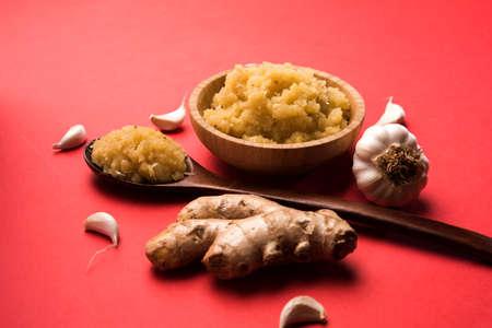 Ginger garlic paste or puree, selective focus