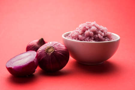 Onion Sauce or paste, in white or black ceramic bowl with raw cut onions, isolated over white background. Selective focus