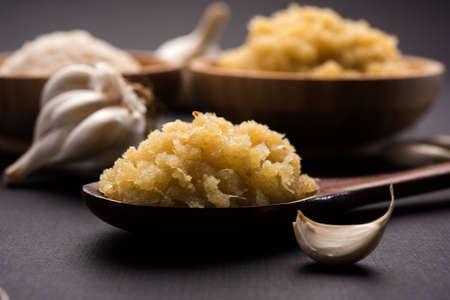 dried granulated garlic powder and garlic paste, selective focus Foto de archivo