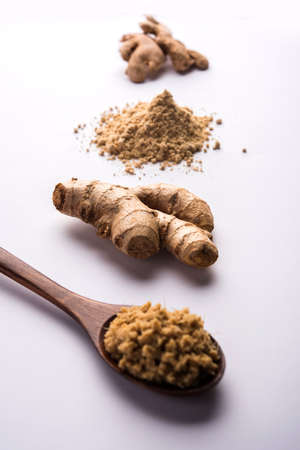 Ginger paste and powder also known as synth or sonth with whole dried and fresh ginger, selective focus Stock Photo