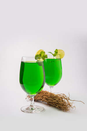 Green KHUS Sharbat or Vetiver grass extract or Chrysopogon zizanioides served in tall glass with mint leaf, popular summertime refreshing drink from India Stock Photo
