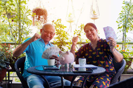 Senior Indian/asian couple accounting, doing home finance and checking bills with laptop, calculator and money while sitting on sofa/couch at home Reklamní fotografie