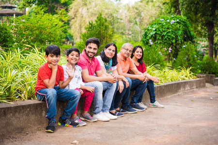 Famiglia indiana che si gode il picnic - Multi generazione di famiglie asiatiche sedute sopra o vicino a un muretto nel parco, all'aperto. messa a fuoco selettiva