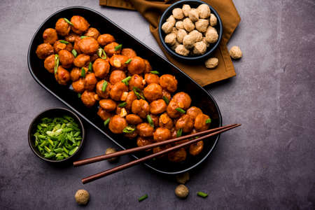 Soya Chunks Manchurian dry or with Gravy Banque d'images