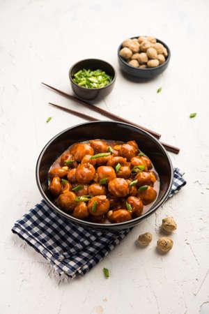 Soya Chunks Manchurian dry or with Gravy