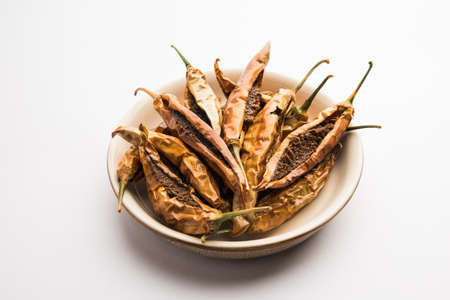 Indian Dried Stuffed Green Chillies or Sandgi Mirchi, Maharashtrian side dish