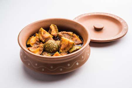 Homemade Mango Pickle or Aam ka Achar in a bowl, selective focus Standard-Bild