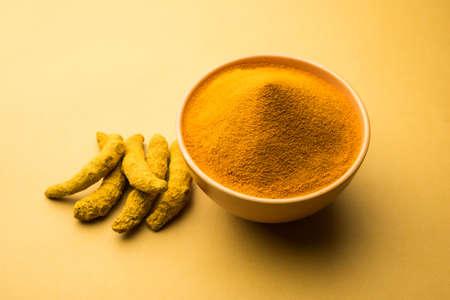 Organic Dry turmeric or Haldi powder also known as curcuma longa linn, selective focus
