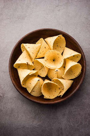 Capad Cones or Papadum in Cone shape, Traditional indian side dish Stock Photo