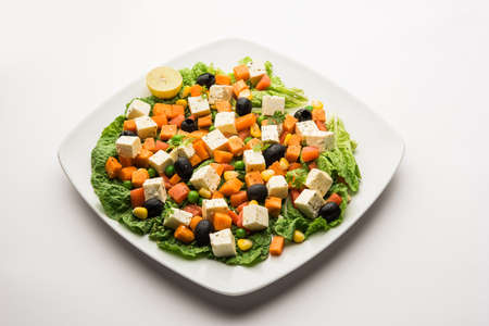 Paneer Vegetable Salad Recipe is a low carb diet food from India using Cottage cheese cubes with green veggies