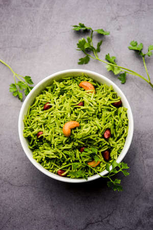 Coriander, Cilantro rice also called Dhaniya Chawal or pulao or kothamalli in India
