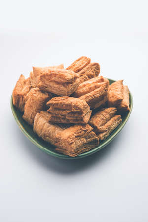 KhariPuff biscuit orcrispypastry is an Indian tea time snack