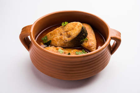 Spicy Fish Curry - kerala, konkan, bengal, goa style in Red and brown colour, served with rice