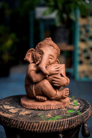 Home made eco friendly ganesha or ganpati idol for ganesh Chaturthi or festival Stock Photo