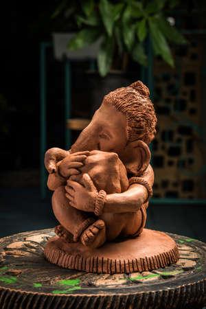 Home made eco friendly ganesha or ganpati idol for ganesh Chaturthi or festival