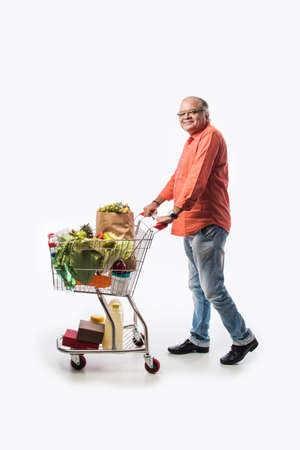 Indian old man with shopping cart or trolly full of vegetables, fruits and groceries