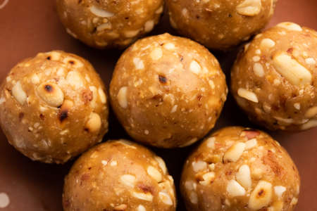 indian sweet groundnut ladoo or mungfali or peanut laddo or laddu made using roasted peanuts and jaggery Stock Photo